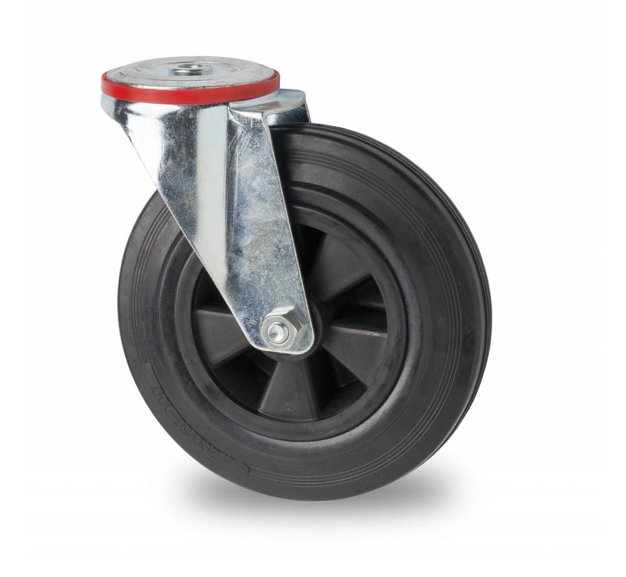 Ruedas para transporte industrial rueda giratoria falta chapa de acero, agujero pasante, goma negra, cojinete de rodillos, Rueda-Ø 200mm, 200KG