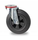 Transportgeräte Lenkrolle aus Stahlblech, Rückenloch, Vollgummi, schwarz, Rollenlager, Rad-Ø 100mm, 80KG