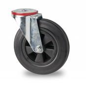 drejelig hjul , Ø 80mm, Massiv sort gummi, 65KG