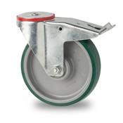 swivel castor with brake, Ø 200mm, injected polyurethane, 300KG