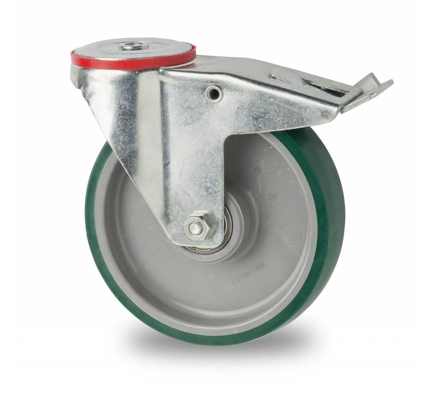 Ruedas para transporte industrial rueda giratoria con freno falta chapa de acero, agujero pasante, poliuretano inyectado, cojinete de bolas de precisión, Rueda-Ø 160mm, 300KG