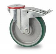 drejelig hjul  med bremse, Ø 125mm, polyuretan, 200KG