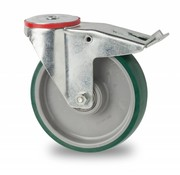 swivel castor with brake, Ø 125mm, injected polyurethane, 200KG