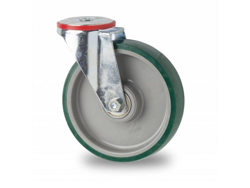 Transporthjul drejelig hjul  af Stål, boltmontering, polyuretan, kugleleje, Hjul-Ø 200mm, 300KG