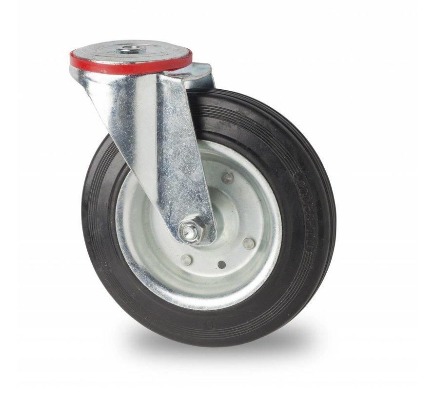 industrial swivel castor from pressed steel, bolt hole, rubber, black, roller bearing, Wheel-Ø 80mm, 65KG