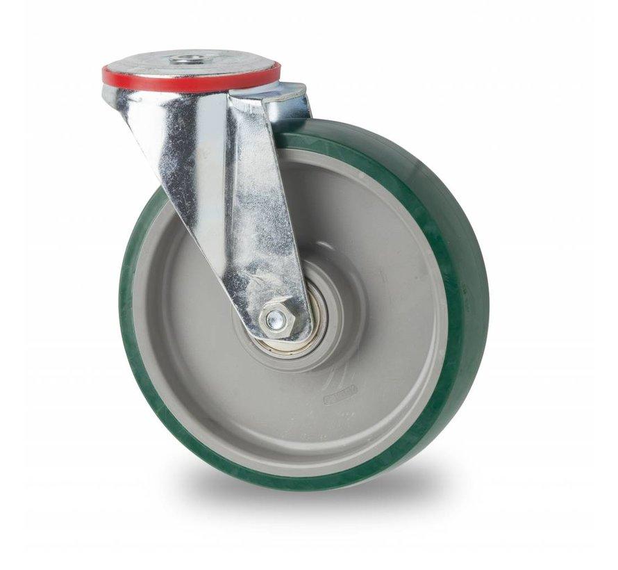 Ruedas para transporte industrial rueda giratoria falta chapa de acero, agujero pasante, poliuretano inyectado, cojinete de bolas de precisión, Rueda-Ø 100mm, 150KG