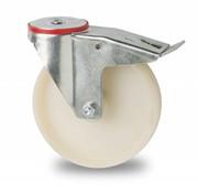 rolka skretna z blokadą, Ø 200mm, koła poliamid PA 6, 300KG