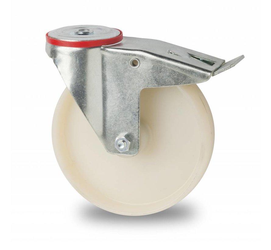 industrial swivel castor with brake from pressed steel, bolt hole, fully nylon (PA6) wheel, roller bearing, Wheel-Ø 80mm, 150KG