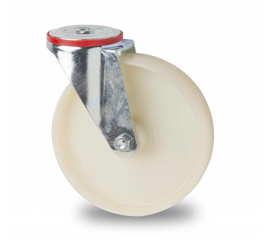 industrial swivel castor from pressed steel, bolt hole, fully nylon (PA6) wheel, roller bearing, Wheel-Ø 160mm, 300KG