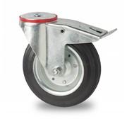 drejelig hjul  med bremse, Ø 200mm, Massiv sort gummi, 200KG