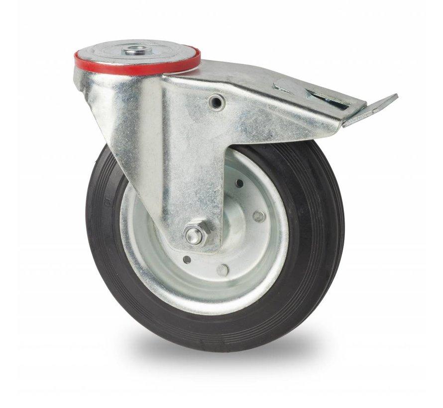 industrial swivel castor with brake from pressed steel, bolt hole, rubber, black, roller bearing, Wheel-Ø 200mm, 200KG