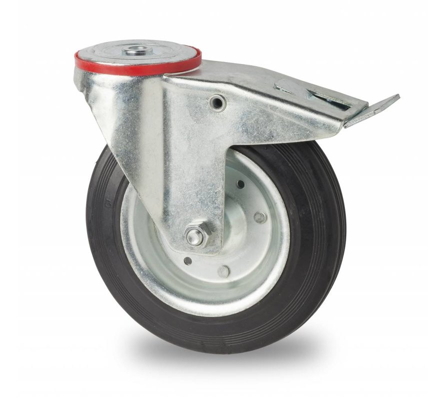industrial swivel castor with brake from pressed steel, bolt hole, rubber, black, roller bearing, Wheel-Ø 125mm, 100KG