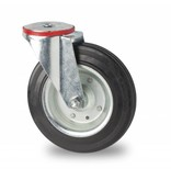Transporthjul drejelig hjul  af Stål, boltmontering, Massiv sort gummi, rulleleje, Hjul-Ø 125mm, 100KG