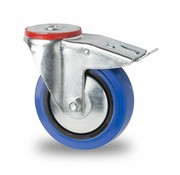 drejelig hjul  med bremse, Ø 125mm, elastisk gummi, 150KG