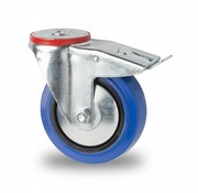 rueda giratoria con freno, Ø 125mm, goma elástica, 150KG
