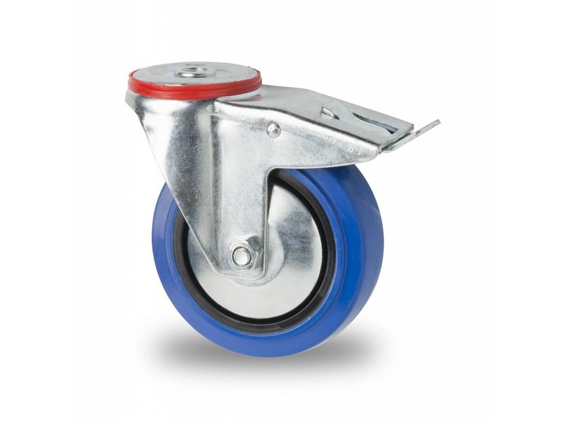 Transporthjul drejelig hjul  med bremse af Stål, boltmontering, elastisk gummi, rulleleje, Hjul-Ø 125mm, 150KG