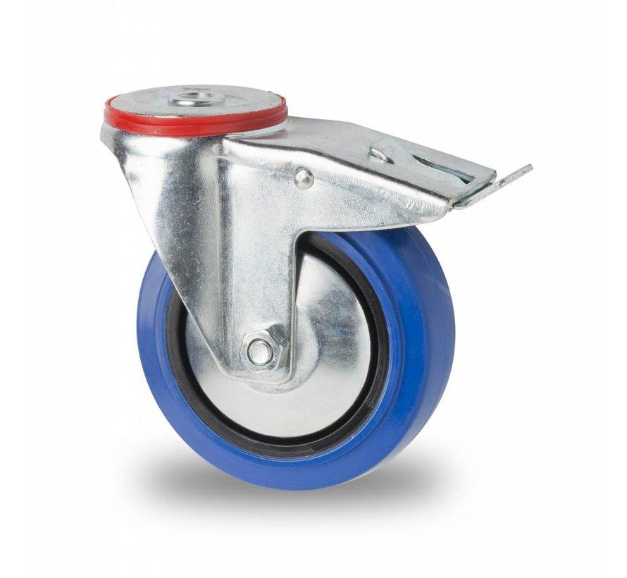 Ruedas para transporte industrial rueda giratoria con freno falta chapa de acero, agujero pasante, goma elástica, cojinete de rodillos, Rueda-Ø 100mm, 150KG