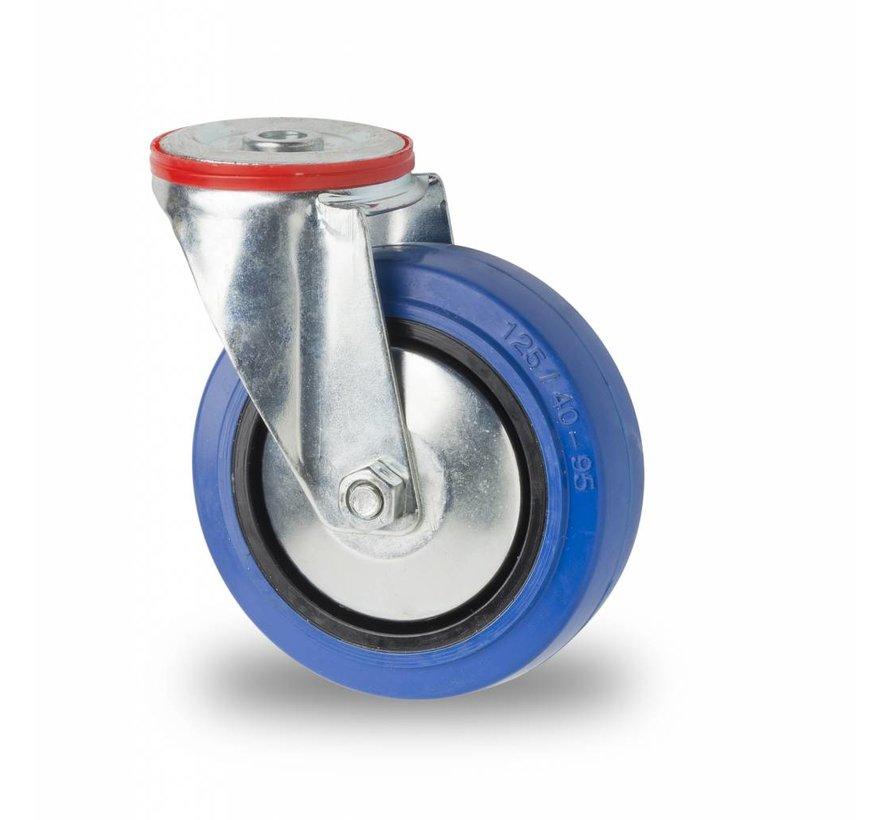 Ruedas para transporte industrial rueda giratoria falta chapa de acero, agujero pasante, goma elástica, cojinete de rodillos, Rueda-Ø 125mm, 150KG