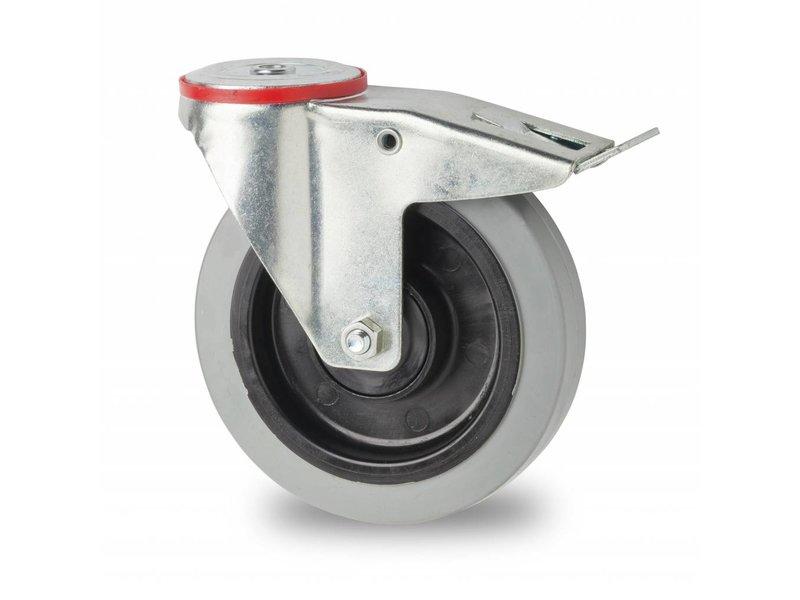 Transporthjul drejelig hjul  med bremse af Stål, boltmontering, elastisk gummi, 2-RS DIN-kugleleje, Hjul-Ø 125mm, 200KG