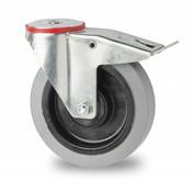 drejelig hjul  med bremse, Ø 100mm, elastisk gummi, 150KG
