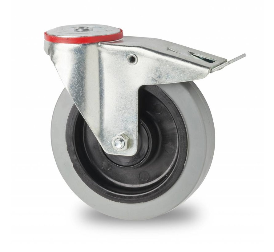 industrial swivel castor with brake from pressed steel, bolt hole, elastic-tyre, 2-RS precision ball bearings, Wheel-Ø 100mm, 150KG