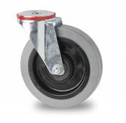 drejelig hjul , Ø 125mm, elastisk gummi, 200KG