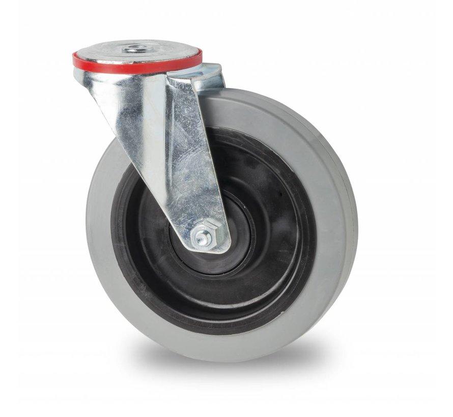 Ruedas para transporte industrial rueda giratoria falta chapa de acero, agujero pasante, goma elástica, 2-RS cojinete de bolas de precisión, Rueda-Ø 125mm, 200KG
