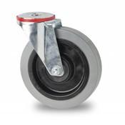 drejelig hjul , Ø 100mm, elastisk gummi, 150KG