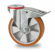 drejelig hjul  med bremse, Ø 200mm, vulkaniseret polyuretan, 400KG