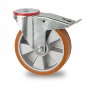 Lenkrolle mit  Feststeller, Ø 200mm, Vulkanisierte gegossenem Polyurethane Lauffläche, 400KG