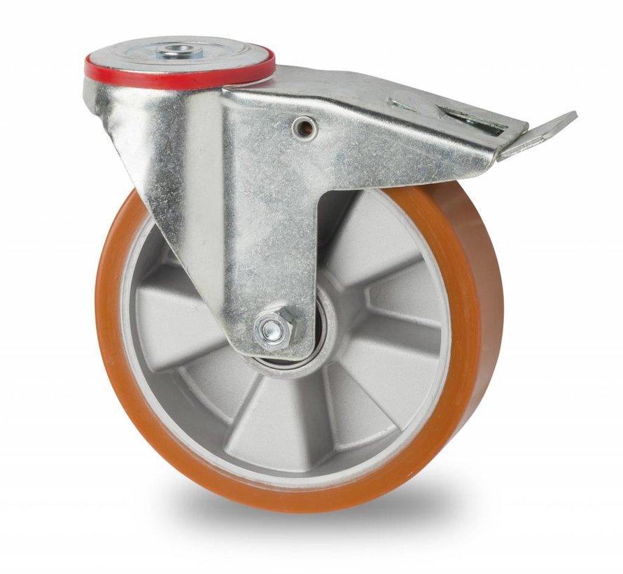 Transporthjul drejelig hjul  med bremse af Stål, boltmontering, vulkaniseret polyuretan, kugleleje, Hjul-Ø 200mm, 400KG