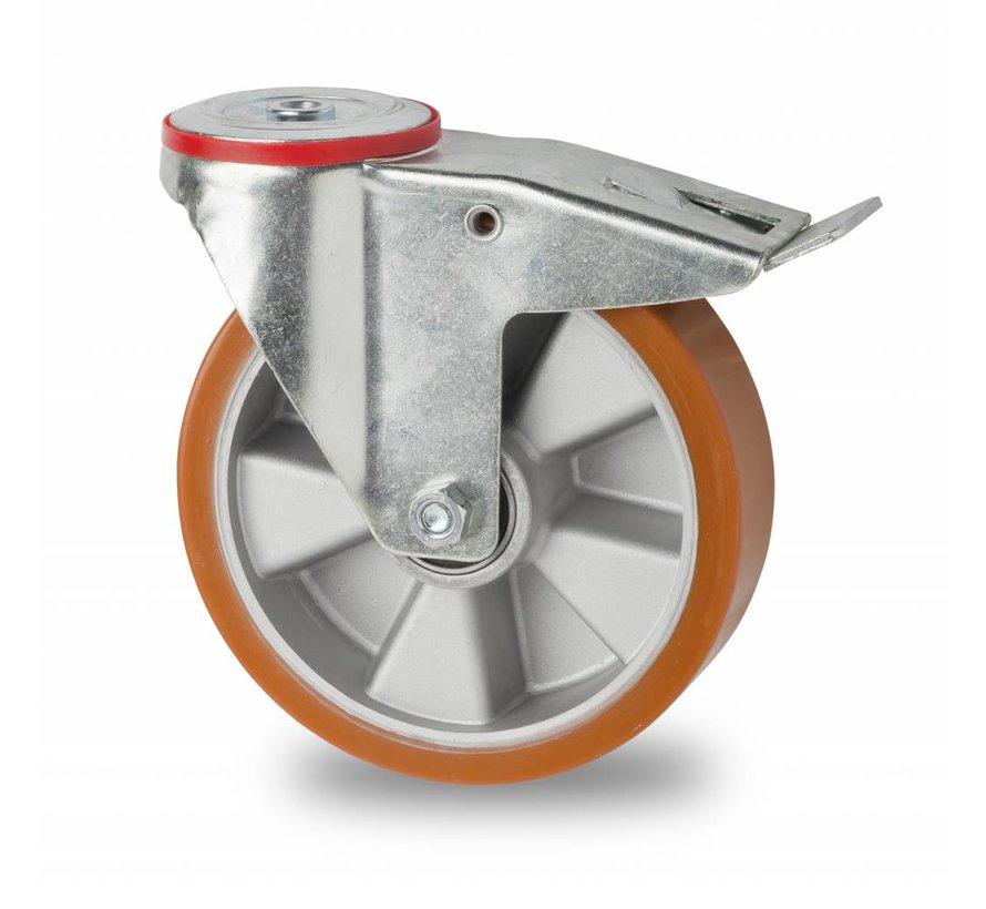 Ruedas para transporte industrial rueda giratoria con freno falta chapa de acero, agujero pasante, polyuréthane vulcanizada fundido, cojinete de bolas de precisión, Rueda-Ø 200mm, 400KG