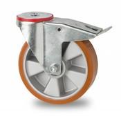 drejelig hjul  med bremse, Ø 160mm, vulkaniseret polyuretan, 300KG