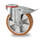 swivel castor with brake, Ø 160mm, vulcanized polyurethane tread, 300KG