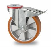 Lenkrolle mit  Feststeller, Ø 160mm, Vulkanisierte gegossenem Polyurethane Lauffläche, 300KG