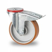 Lenkrolle mit  Feststeller, Ø 125mm, Vulkanisierte gegossenem Polyurethane Lauffläche, 200KG