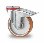drejelig hjul  med bremse, Ø 125mm, vulkaniseret polyuretan, 200KG