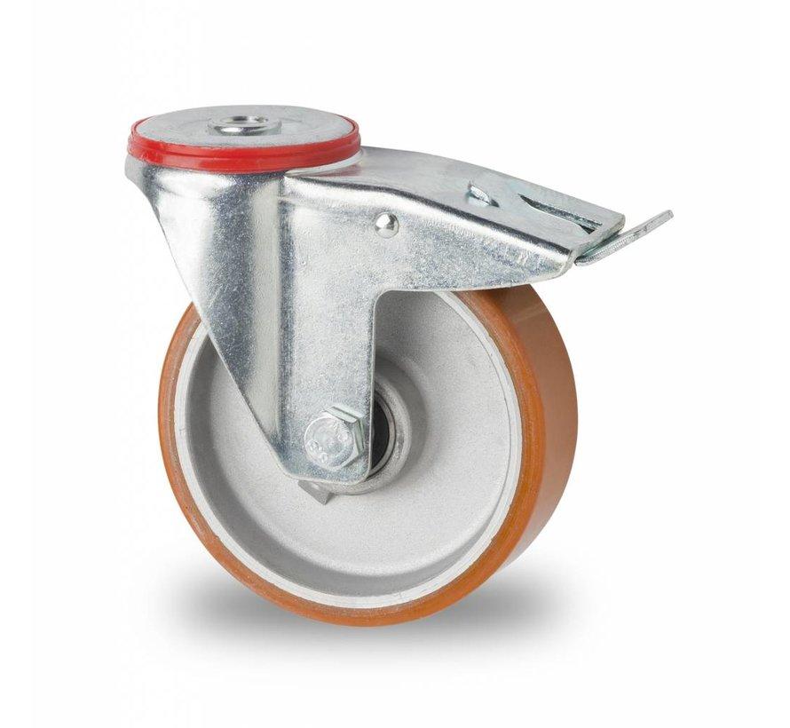 industrial swivel castor with brake from pressed steel, bolt hole, vulcanized polyurethane tread, precision ball bearing, Wheel-Ø 125mm, 200KG