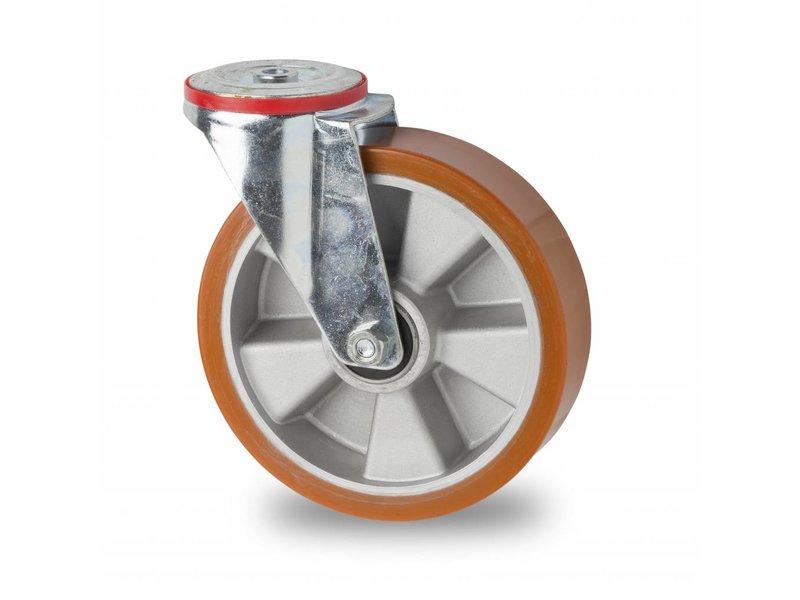 Transporthjul drejelig hjul  af Stål, boltmontering, vulkaniseret polyuretan, kugleleje, Hjul-Ø 200mm, 400KG