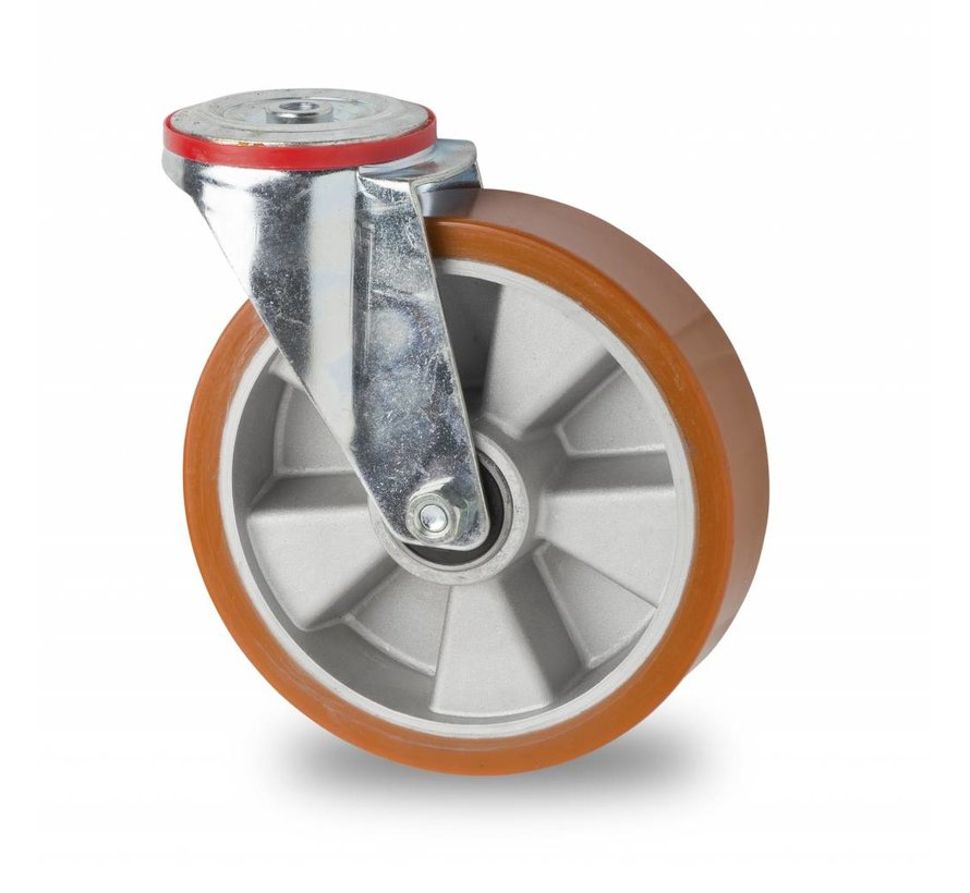 industrial swivel castor from pressed steel, bolt hole, vulcanized polyurethane tread, precision ball bearing, Wheel-Ø 200mm, 400KG