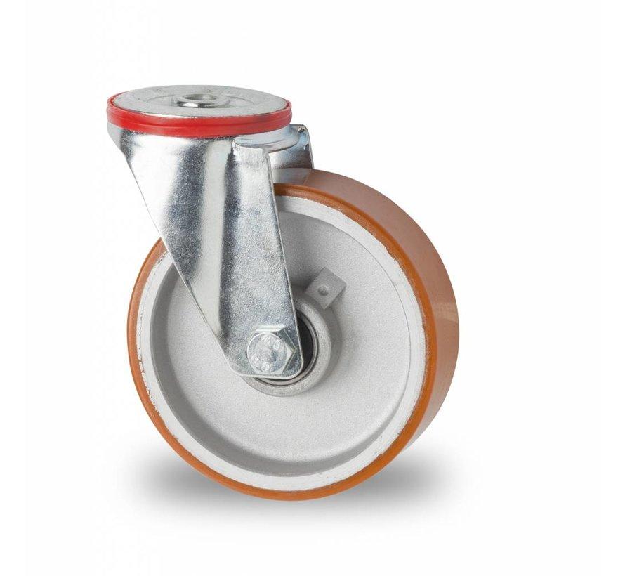 Ruedas para transporte industrial rueda giratoria falta chapa de acero, agujero pasante, polyuréthane vulcanizada fundido, cojinete de bolas de precisión, Rueda-Ø 125mm, 200KG