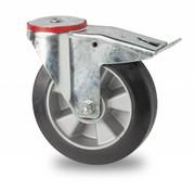 drejelig hjul  med bremse, Ø 200mm, elastisk gummi, 400KG