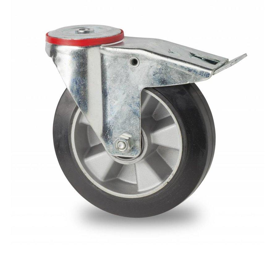 rodas industriais Rodízio Giratório con travão desde chapa de aço, furo central, goma vulcanizada, Rolamento de Esferas, Roda-Ø 200mm, 400KG