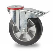 drejelig hjul  med bremse, Ø 160mm, elastisk gummi, 300KG