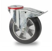 rueda giratoria con freno, Ø 160mm, goma elástica, 300KG