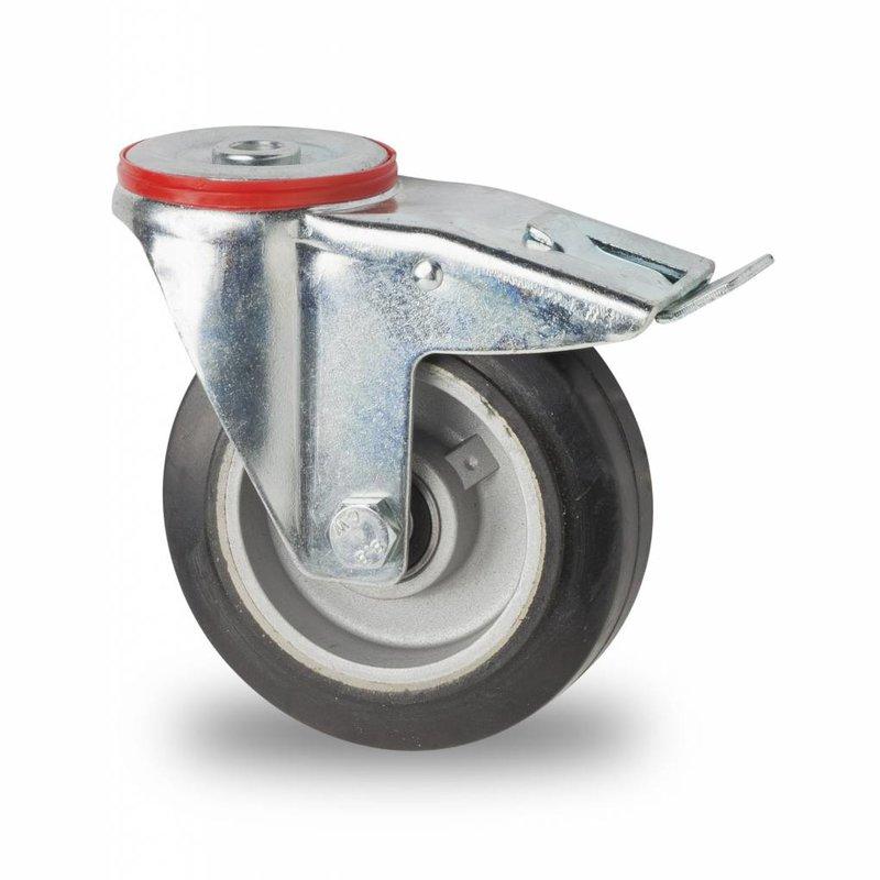 drejelig hjul  med bremse, Ø 125mm, elastisk gummi, 200KG