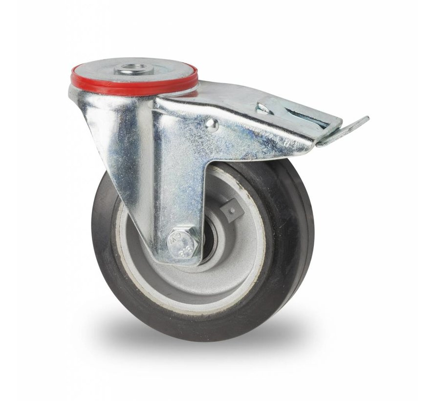 industrial swivel castor with brake from pressed steel, bolt hole, elastic-tyre, precision ball bearing, Wheel-Ø 125mm, 200KG