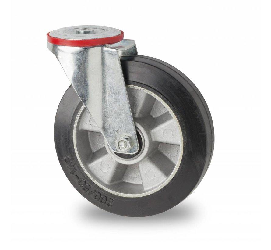 industrial swivel castor from pressed steel, bolt hole, elastic-tyre, precision ball bearing, Wheel-Ø 200mm, 400KG