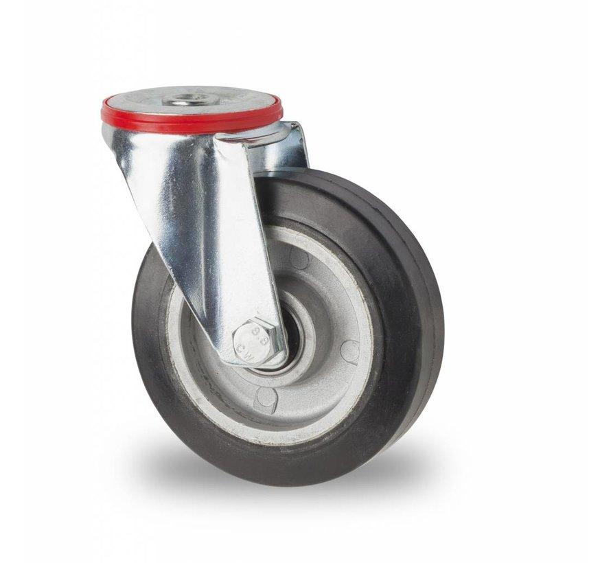 Ruedas para transporte industrial rueda giratoria falta chapa de acero, agujero pasante, goma elástica, cojinete de bolas de precisión, Rueda-Ø 125mm, 200KG