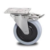 drejelig hjul  med bremse, Ø 200mm, grå termoplastisk gummi afsmitningsfri, 400KG
